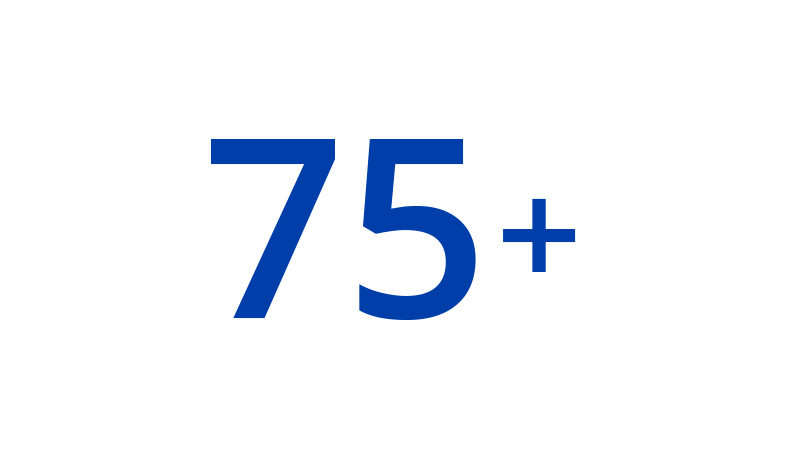 An illustration of 75+.
