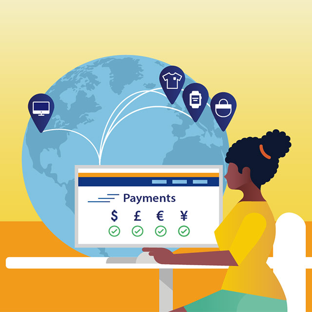 A conceptual illustration that depicts a woman sending payments across the globe from her computer.